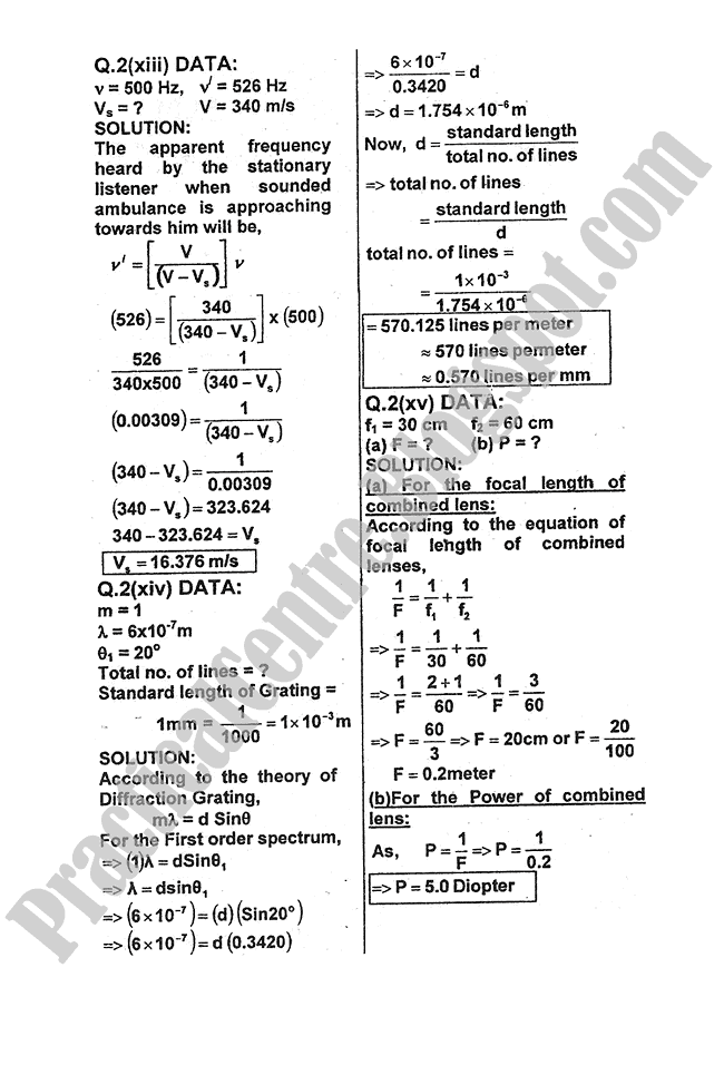 Physics-Numericals-Solve-2011-five-year-paper-class-XI