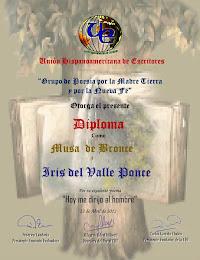 DIPLOMA/MUSA DE BRONCE POEMA POR LA MADRE TIERRA