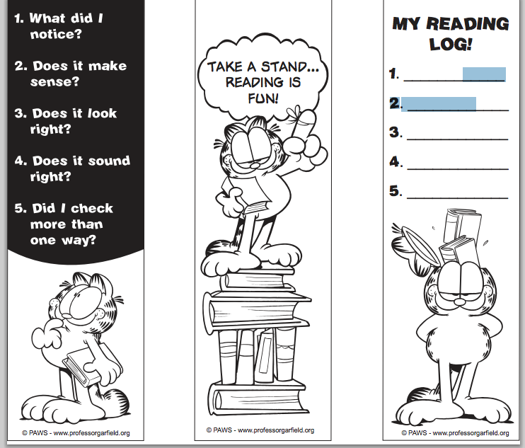 image relating to Printable Bookmarks Black and White titled Garfield Printable Bookmarks - Library Students