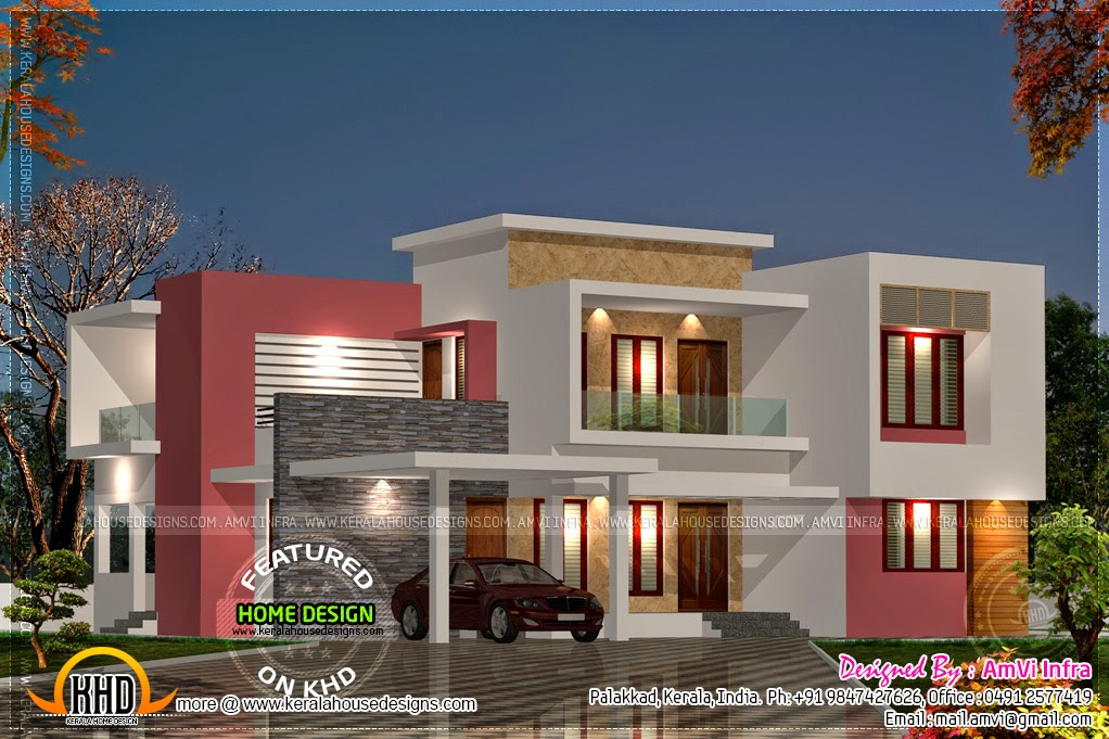 Night view rendering with floor plan home kerala plans for Kerala home design flat roof elevation