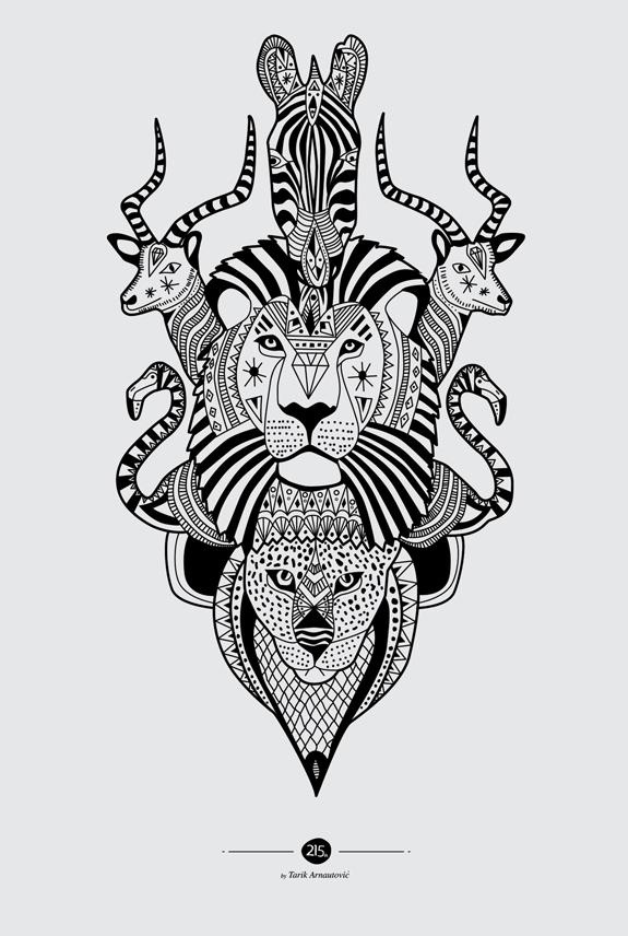ユニークなグラフィックスタイルの動物のポスター