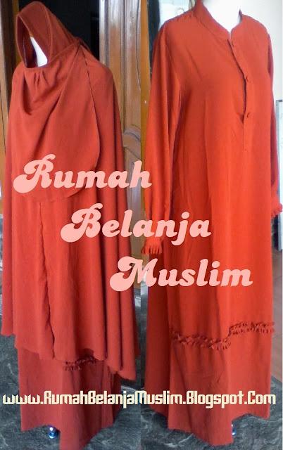 Model Gamis Muslimah Syar'i Merah Bata