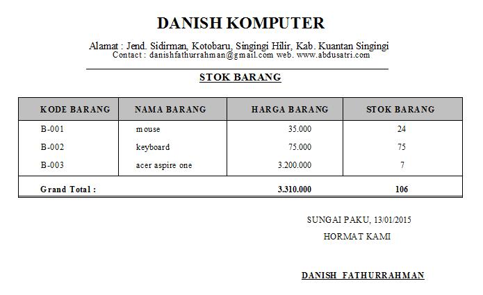 contoh laporan penjualan dengan crystal report