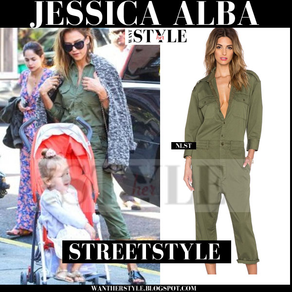 Jessica Alba in olive green nlst jumpsuit streetstyle what she wore