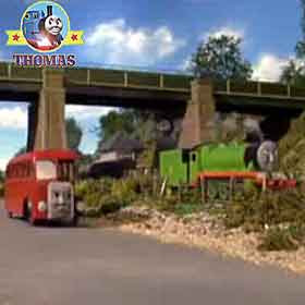 Thomas and friends Henry the green engine Bertie the bus school children standing on the rail-bridge