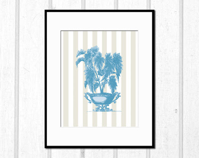 framed illustration of a Victorian potted plant
