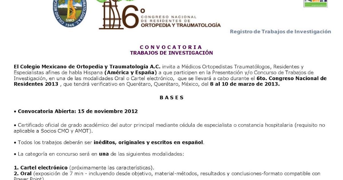 Colegio mexicano de ortopedia y traumatolog a 6 congreso for W de porter ortopedia