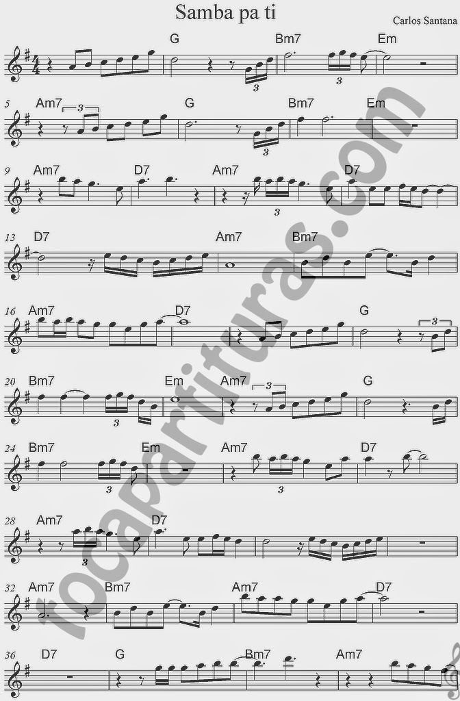 Partitura de Samba pa Ti con Acordes de Carlos Santana en Clave de Sol Partitura recomendada para acompañar con guitarra y para violín, flauta travesera, saxofones, clarinete... Samba Pa Ti Sheet Music in Treble Clef with chords