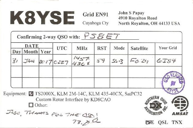 QSL- new record PS8ET <>K8YSE