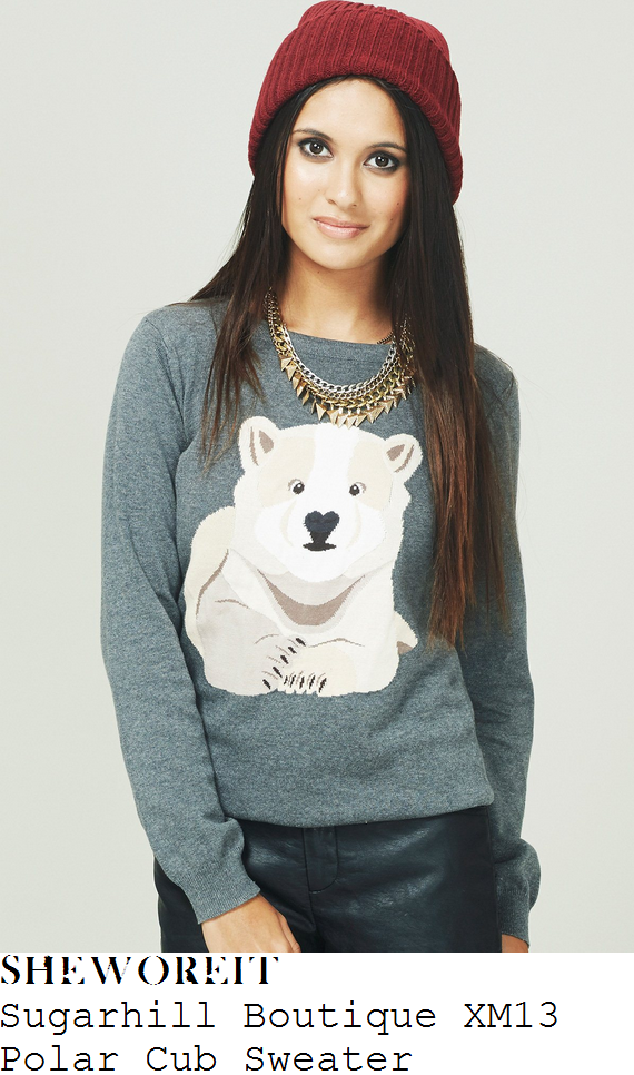 billie-faiers-grey-polar-bear-jumper-towie-christmas-special