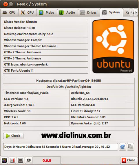 I-Nex- informações de hardware no Ubuntu