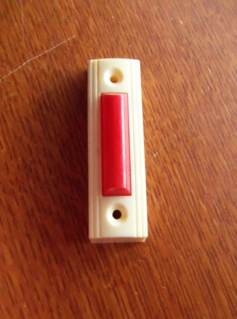 Vintage Mid-Century Modern Retro Cream &amp; Red Bakelite Doorbell Button