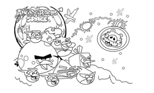 Dibujos para colorear de los Angry Birds space - Imagui