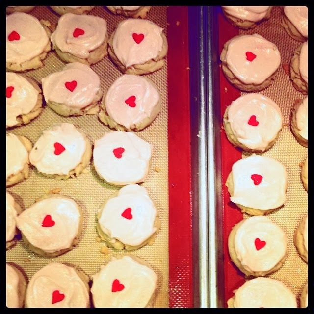 frosted sugar cookies for valentines day