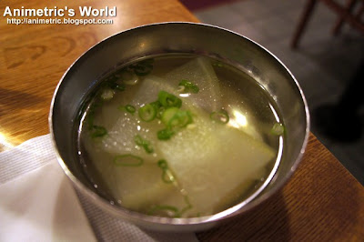 Hot clear soup at Pine Tree Korean BBQ Restaurant