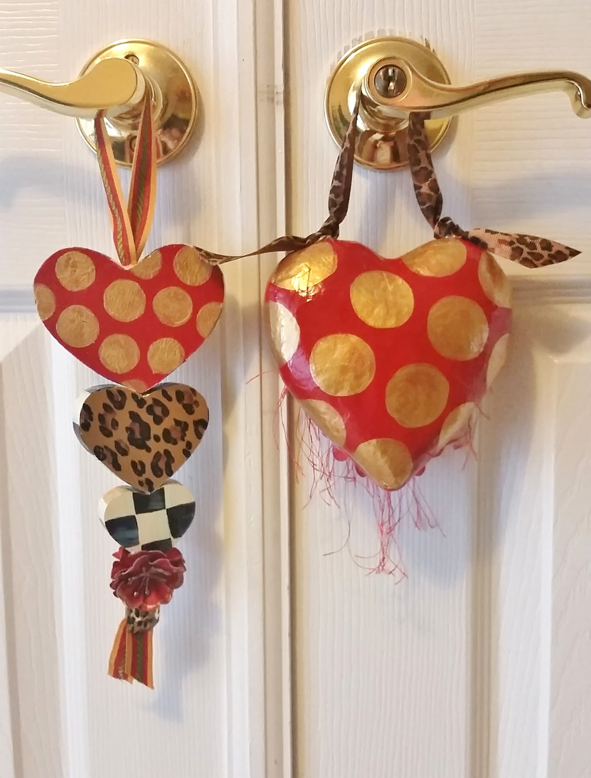 hand painted valentine heart ornament set