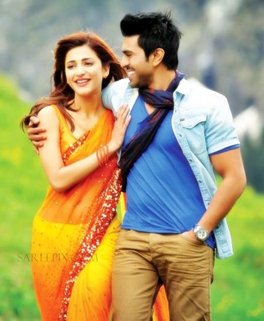 Shruti-hassan-saree-Yevadu-movie-poster