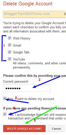 delete all the google services accounts