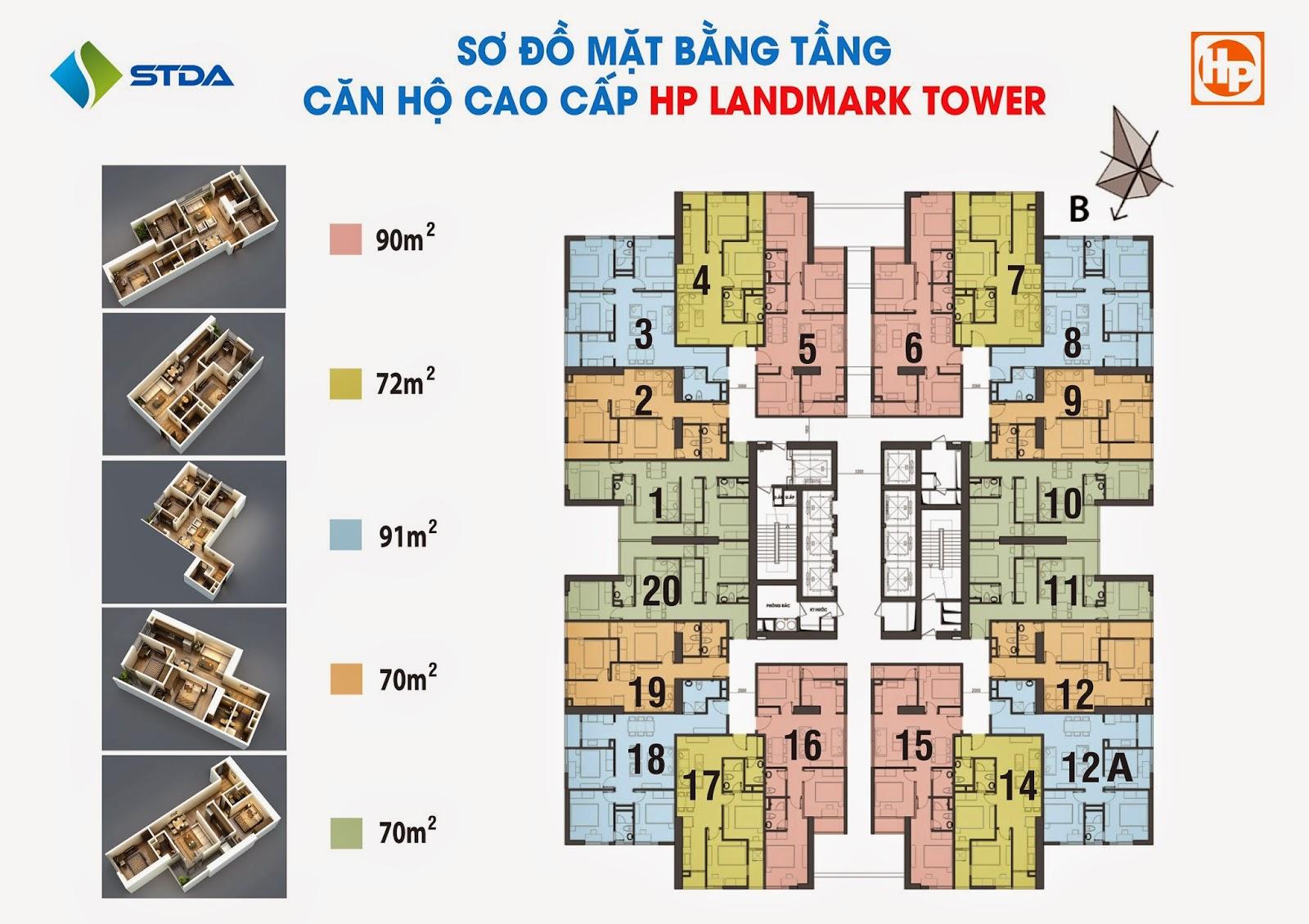 sơ đồ mặt bằng chung cư hp landmark tower