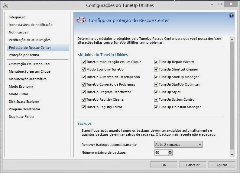 Configurações do TuneUp Utilities