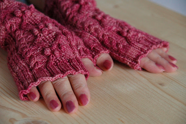 Queen Street fingerless gloves in Hazel Knits