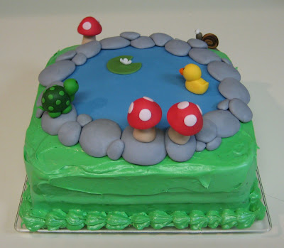 Pond Cake with Animals and Mushrooms - Back View
