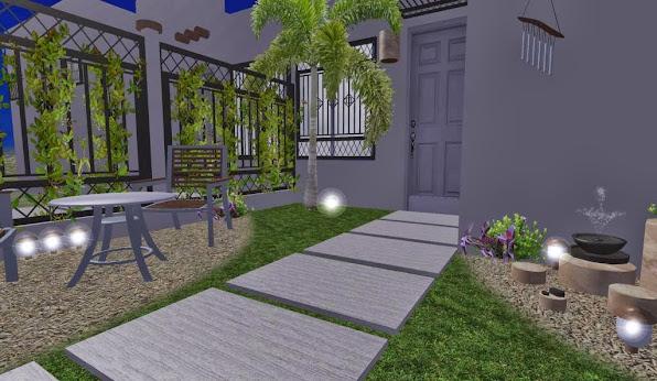 diseño 3D jardin pequeño fachada - iluminacion noche 4