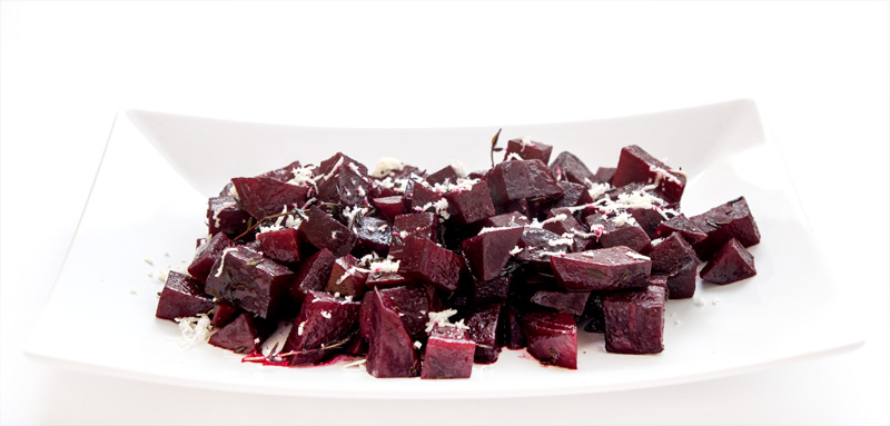 Baked beet on a plate