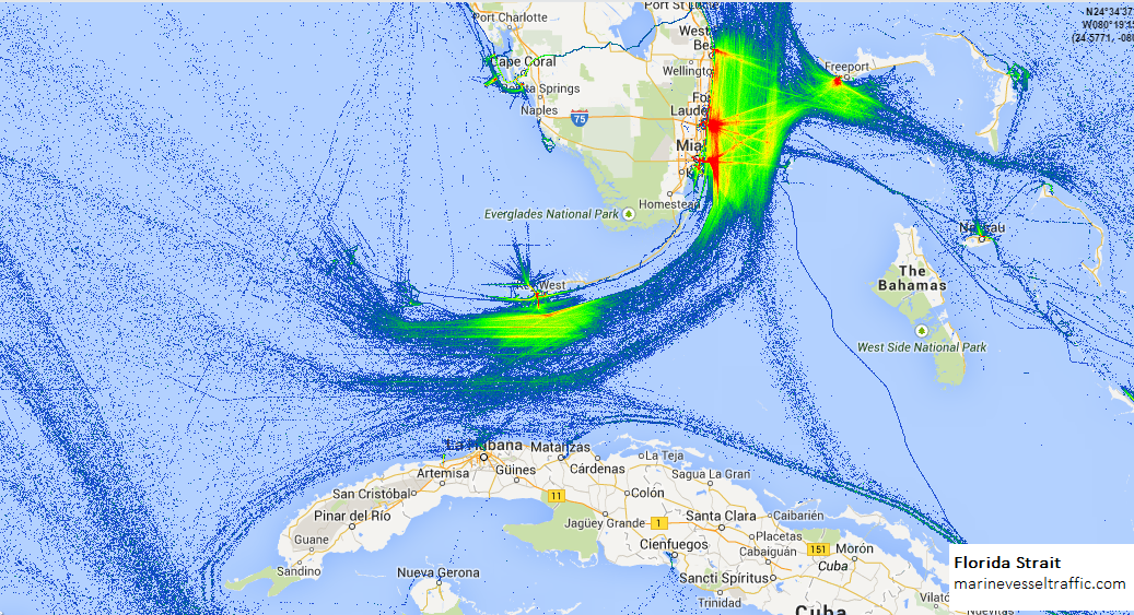 Current Map Of Florida.Florida Strait Ship Traffic Ship Traffic