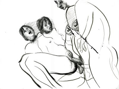 dessin erotique triolisme double penetration