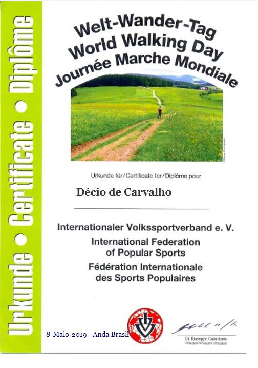 """Diploma """"Dia Mundial da Caminhada"""" 08/05/2019"""