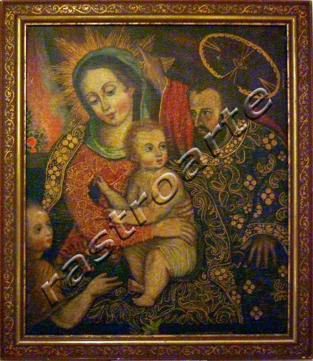 """La denominación generalizada de esta escena  es """"Sagrada   Familia con San Juanito"""". Pintura barroca colonial que   representaba al niño Jesús, la Virgen María, San José y San   Juan niño"""