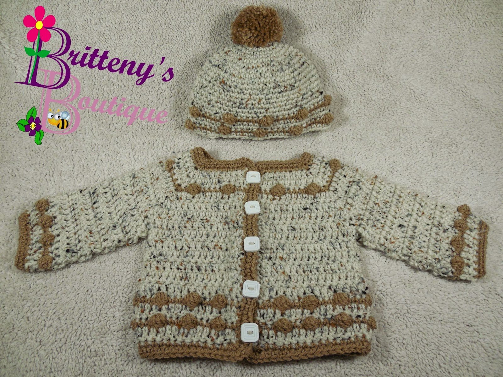 Britteny off the hook babys bouncing ball sweater hat and babys bouncing ball sweater hat and booties layette set pattern crochet pattern pdf bankloansurffo Choice Image