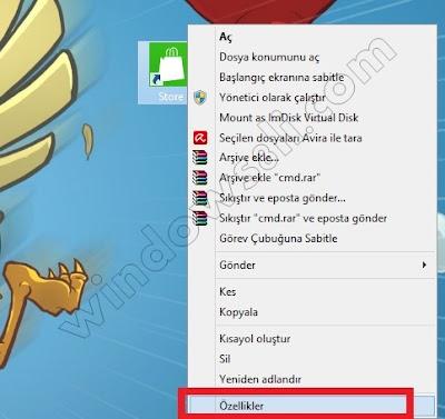 Windows 8 Mağaza Kısayol