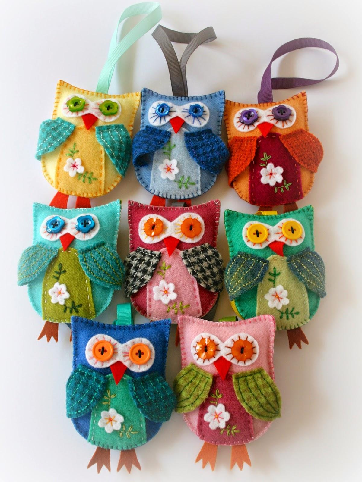 handmade felt owls