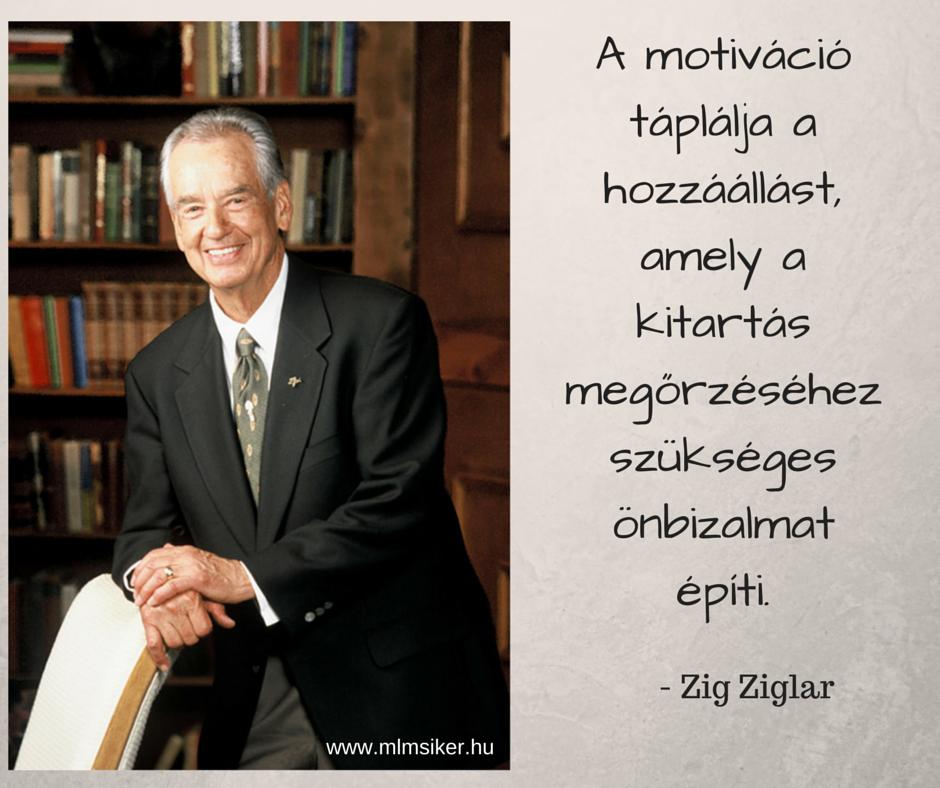 A motiváció táplálja a hozzáállást, amely a kitartás megörzéséhez szükséges önbizalmat építi - Zig Ziglar
