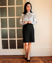 Black and White Pencil Skirt Blouse