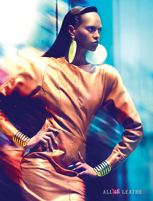 model, Yasmin Warsame, leather dress, Arthur Mendonca, photoshoot, Francisco Garcia, editorial, Power Station, Fashion Magazine, All in leather, 2012
