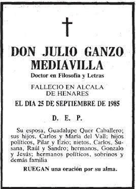 Esquela de Julio Ganzo Mediavilla