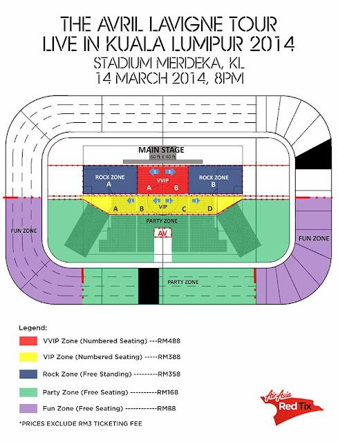 Avril Lavigne Tour Live in Kuala Lumpur 2014 Seating Plan