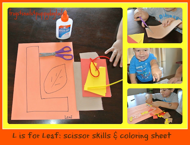 L is for Leaf scissor skills craft that also goes over texture & letter L worksheets)
