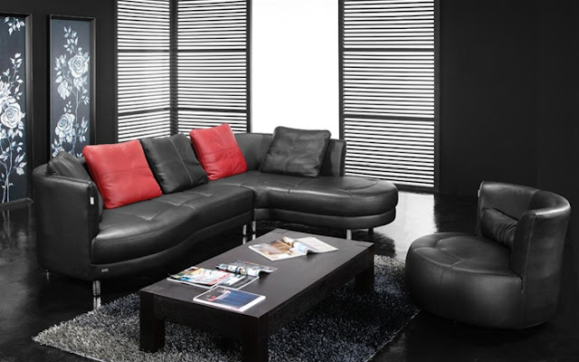EHO Studios Italian Leather Upholstery Sectional with Polished Chrome Legs