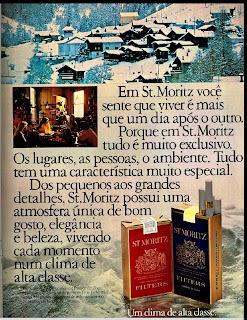 propaganda cigarros St. Moritz - 1979; propaganda anos 70; história decada de 70; reclame anos 70; propaganda cigarros anos 70; Brazil in the 70s; Oswaldo Hernandez;