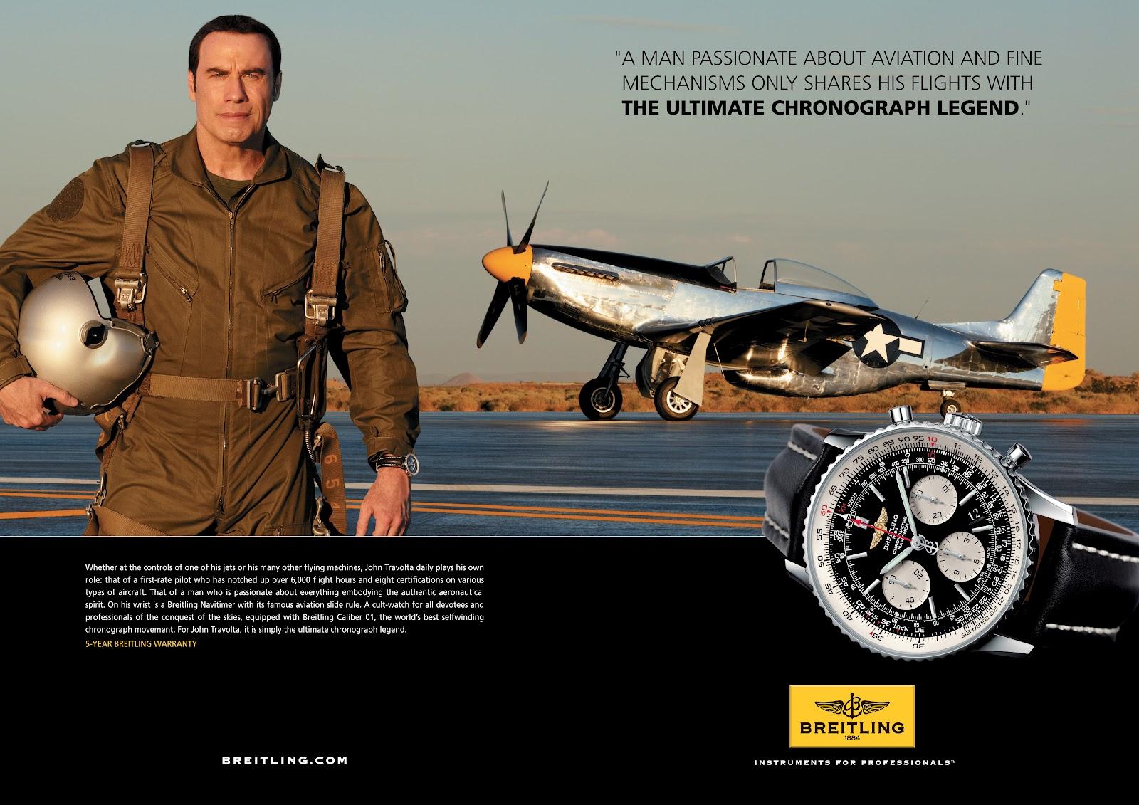 John travolta y breitling prosiguen su vuelo en com n for John travolta breitling
