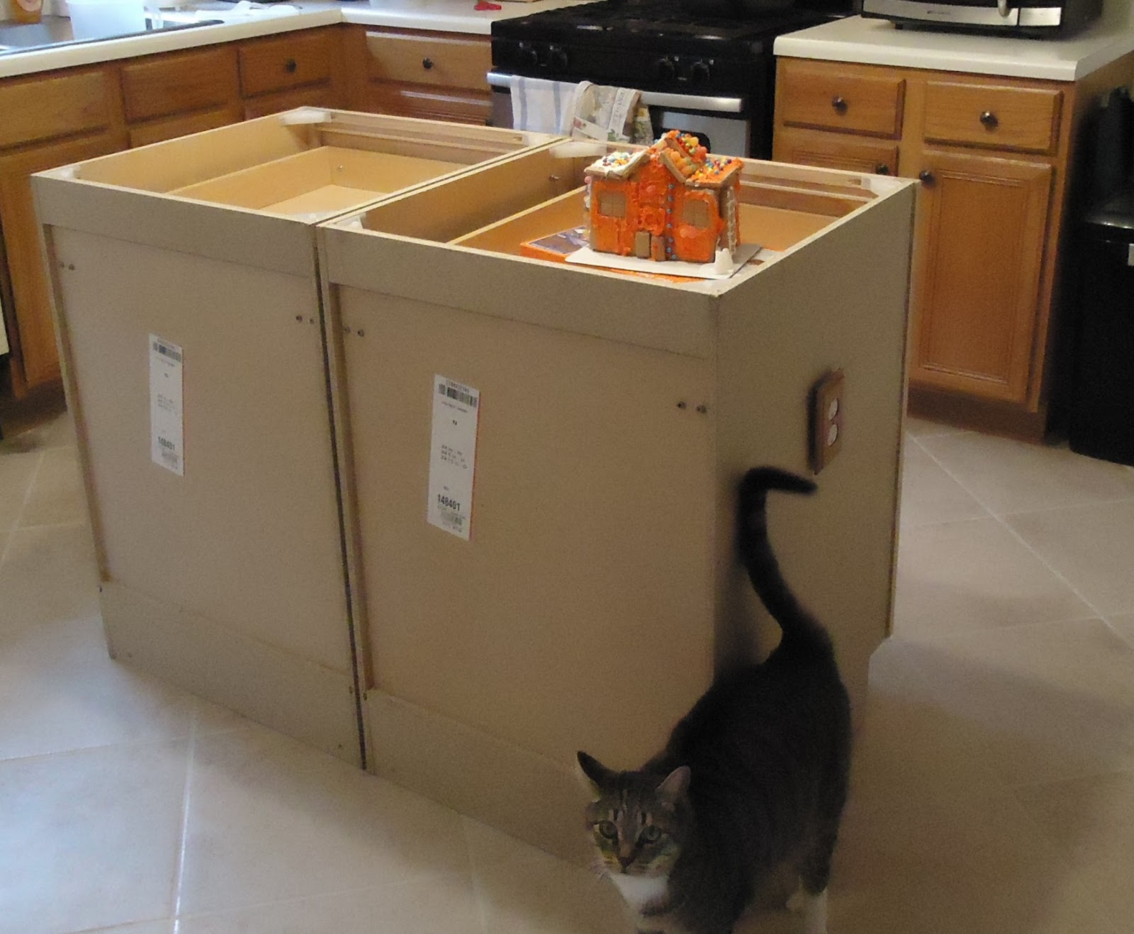 Walking to retirement the diy kitchen island for Making a kitchen island from cabinets
