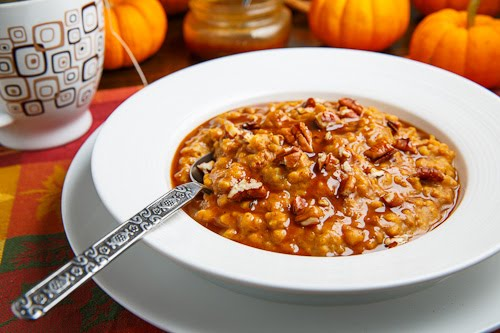 Slow Cooker Pumpkin Pie Steel Cut Oatmeal