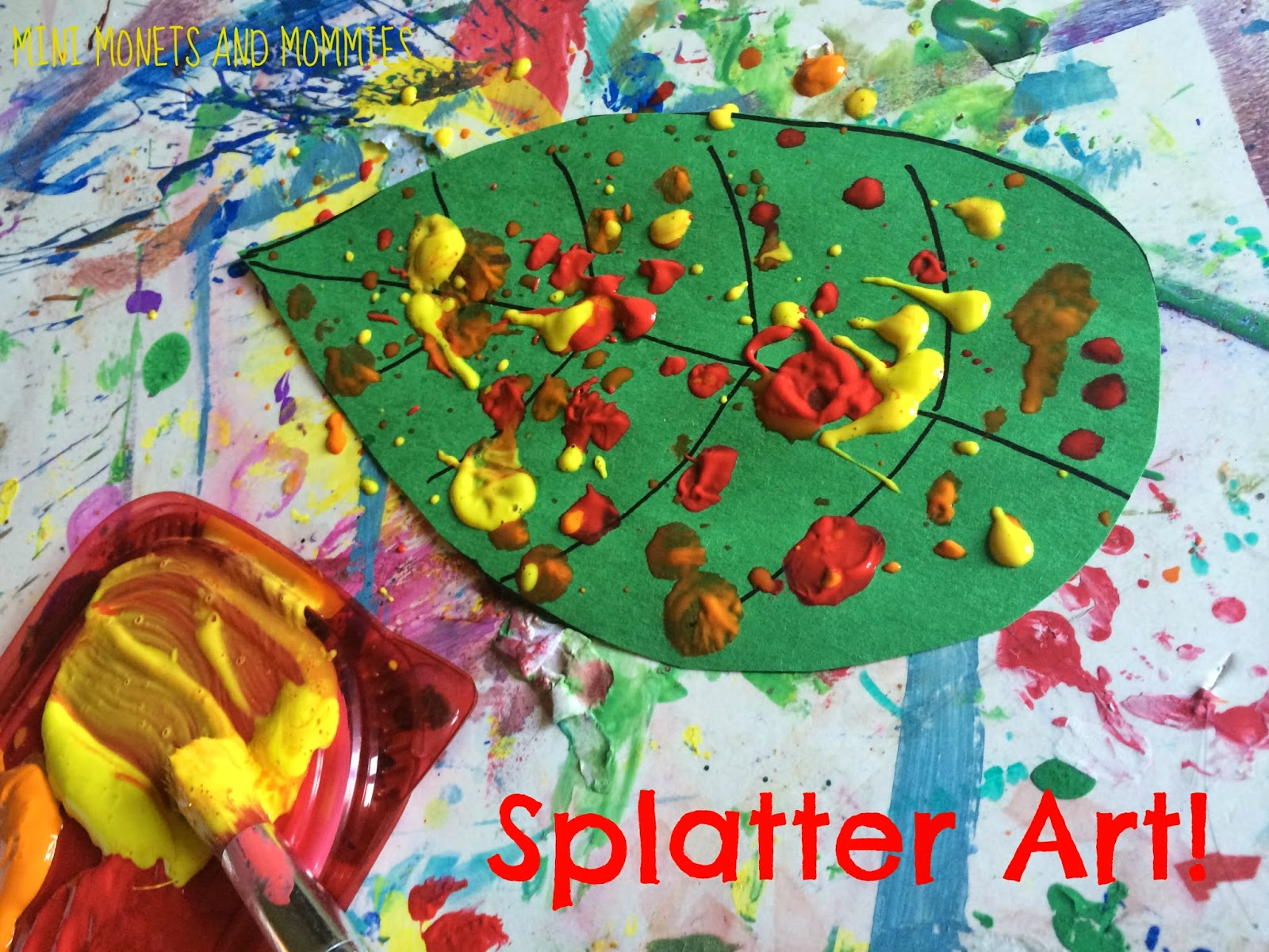 Mini Monets and Mommies: Fall Leaf Paint Splatter Kids\' Art Activity