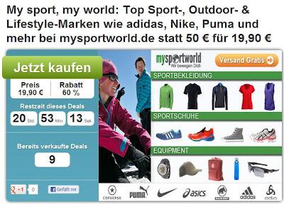 DailyDeal: 50€-mysportworld.de-Gutschein für 19€