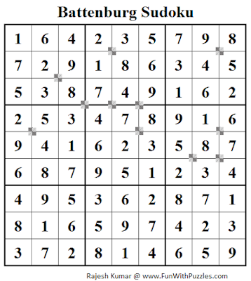 Battenburg Sudoku (Fun With Sudoku #53) Solution