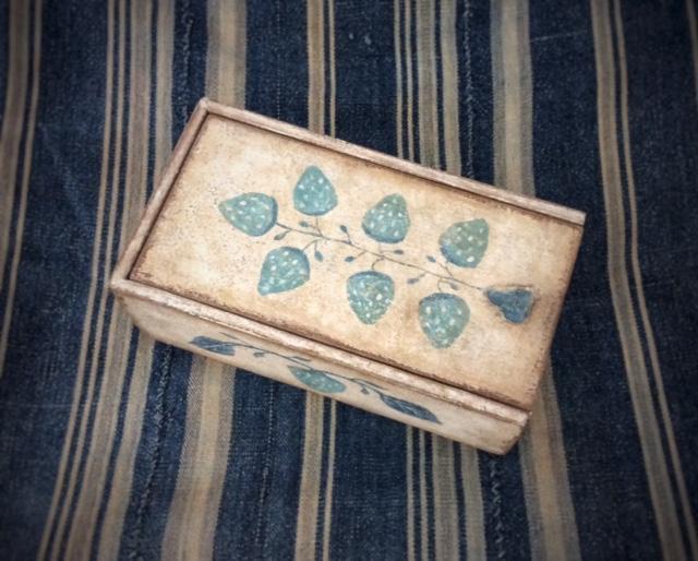 "Blue and White Strawberry Slide-Lid Box, 7 1/4"" L x 4"" W x 2 1/2"" H"